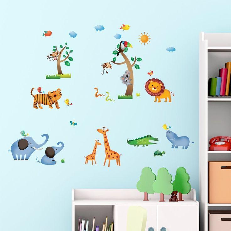 Decowall DW-1206 Jungle adesivi da parete   wall stickers   adesivi da parete   muro del tatuaggio   Decorazione murale   decalcomania della parete: Amazon.it: Prima infanzia