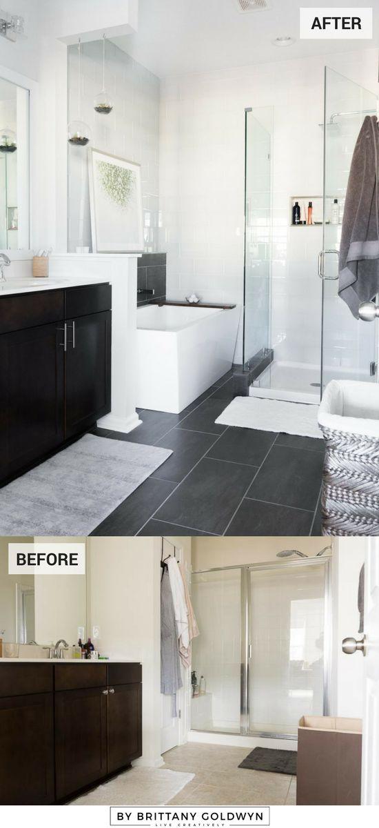 Master Bathroom Reveal Photos // Dark gray large format tile, white glass subway tile, modern freestanding tub, small frameless shower, small bathroom ideas