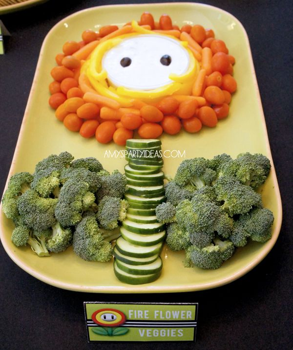 | Game Truck Party Ideas from AmysPartyIdeas.com | #gametruck #videogame #party #ideas: Fire Flower Veggie dip