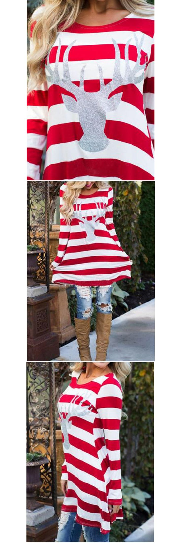 2017 Christmas Deer Family Matching Outfits Dresses Mother Girls Dresses Red Striped Matching Christmas Outfits Family Look