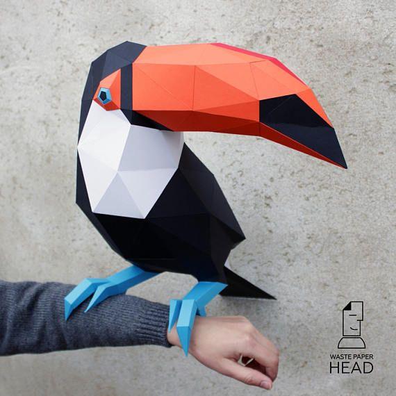 Papercraft toucan digital template