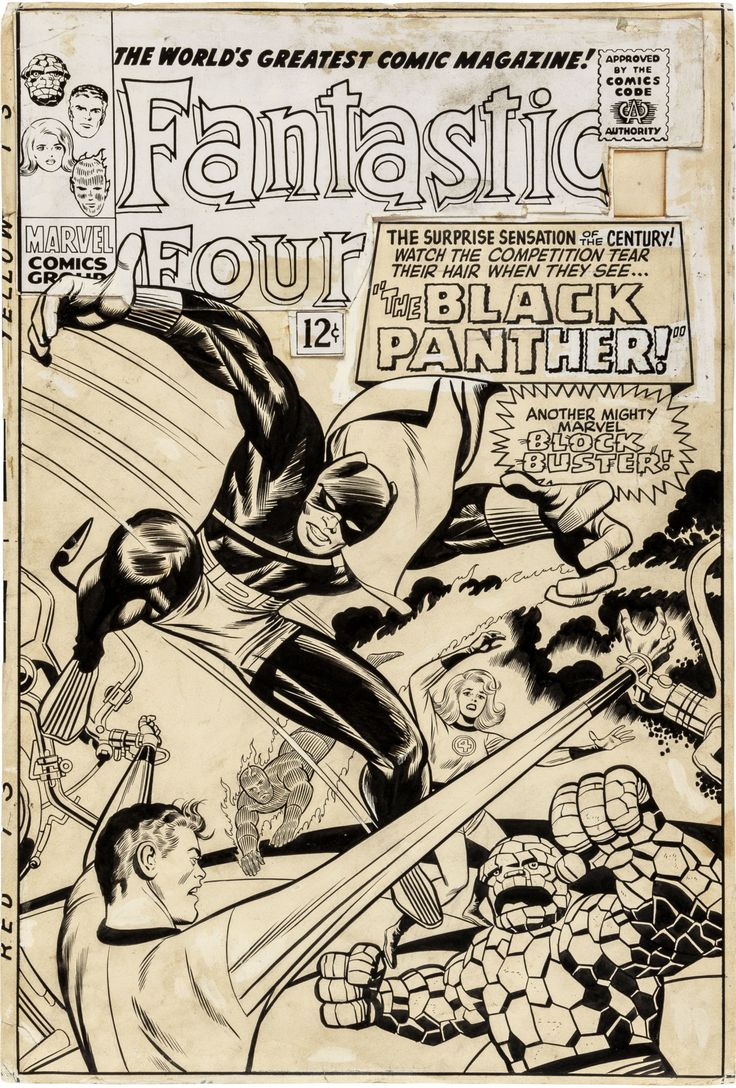 """seanhowe: """"Pictured: Jack Kirby and Joe Sinnott's original art for the first appearance of the Black Panther, on the cover of Fantastic Four #52, 1966. The following is a related excerpt from Marvel..."""