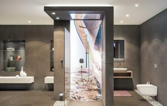 Fugenlose Wandverkleidung Bad In 2020 Bathroom Mirror Lighted Bathroom Mirror Bathroom Lighting
