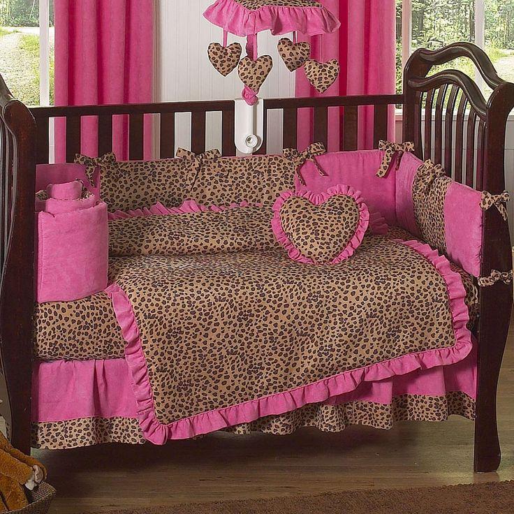 cheetah hot pink and leopard print 9 piece crib bedding set