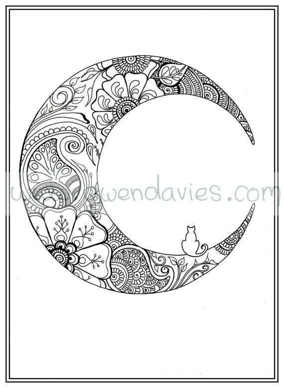 Adult colouring in PDF download moon cat calming by gwendaviesart
