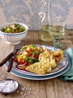 Das Rezept für Blumenkohlschnitzel zu Süßkartoffel-Salat und weitere kostenlose Rezepte auf LECKER.de