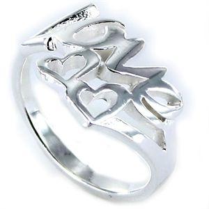 Anillo Love de plata lisa Love con corazones