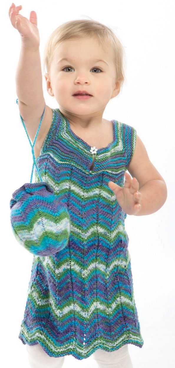 Free Knitting Pattern for Child's Garden Party Dress and Purse - Matching set is knit in a 2-row repeat chevron stitchthat showcases multi-colored yarn and makes a natural zigzag hem. Designed by Premier Yarns Design Team.Child 12m (2t, 4t, 6t)