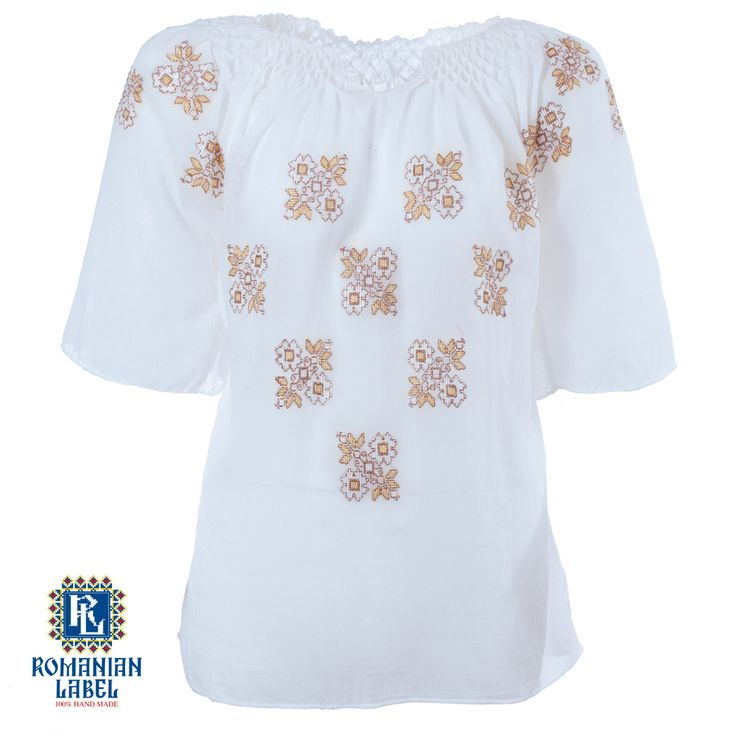 $81.29 A 100% hand made traditional blouse, exclusively tailored out of natural materials, such as ivory cotton, gold and brown silk embroidery.