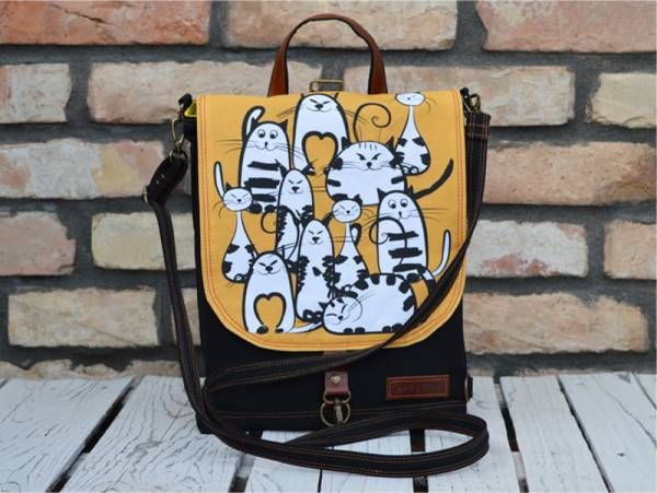 Black and Hand Printed Mustard Canvas with Funny Cats