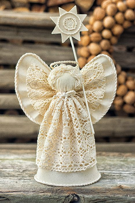Christmas angel tree topper in pure white cotton.  Also it's a special Christmas gift to your friends and family! So find your angels and get ready to happy holidays and beautiful Christmas!)