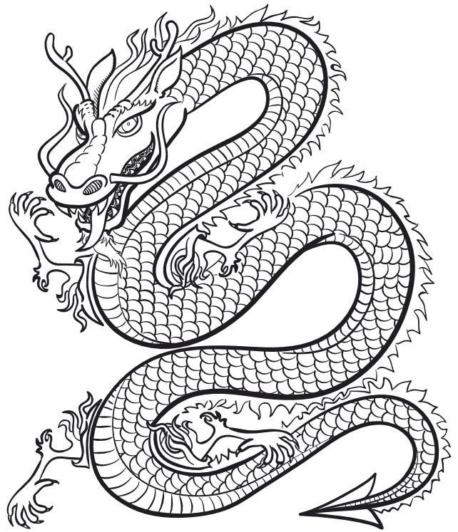 Coloriage : Le dragon chinois | Momes.net