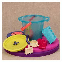 B Toys Duże wiaderko z akcesoriami i FRISBEE, niebieskie Designerskie wyjście na plażę!