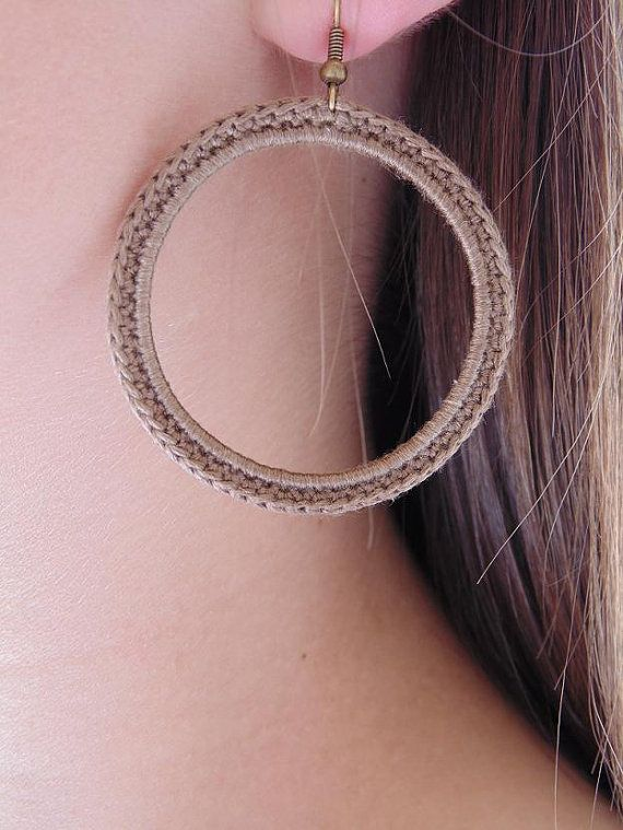 Crochet Earrings in Brown.Handmade Brown Jewelry. Circle Earrings. Fiber Jewelry. Crochet Jewelry. on Etsy, $9.00
