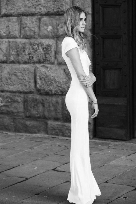 simple cut. this would be lovely as a wedding dress.