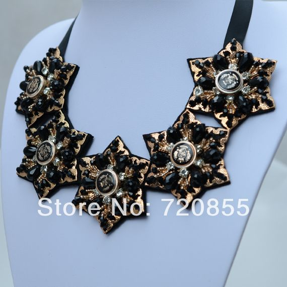 Beautiful Gold Flowers Star Necklace Black Ribbon,Black Crystal Chokers Necklaces Jewelry for Women,New Arrival 2014