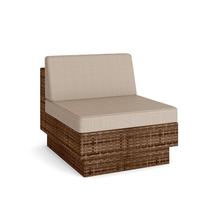 Sonax M-173-TPP Park Terrace Armless Middle Seat, Saddle Strap Weave. Coral Sand colored seat cushions with zippered, washable high quality fabric covers. Heavy Duty Aluminum Frames. Durable and easy to care for Saddle Strap Weave made of Resin Rattan Wicker. Contemporary design perfect for any outdoor space. Accent cushions available in 5 different colors, sold separately.