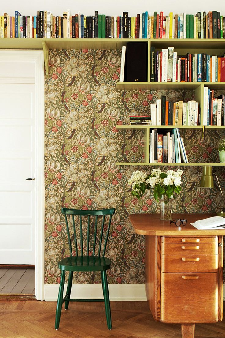 """William Morris & Co. Wallpaper in """"Golden Lily"""" Pattern. #William_Morris #Morris_and_Co #wallpaper"""