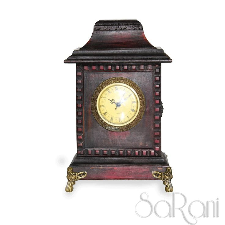 Orologio Antico Vintage Legno Ciliegio Scuro da Tavolo Comò Numeri Romani SARANI