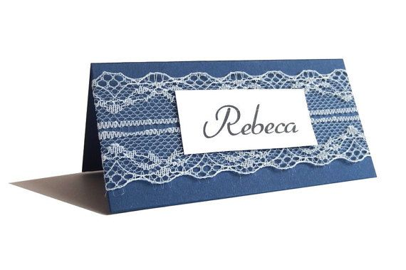 Lace place cards Wedding place cards Navy Blue Place by MiniShopLV