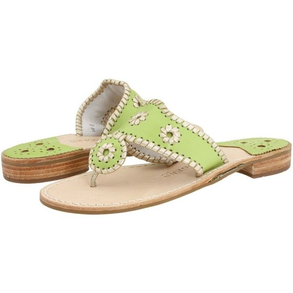 Jack Rogers Palm Beach Platinum (Lime/Platinum) Women's Sandals ($55) ❤ liked on Polyvore featuring shoes, sandals, green, low heel sandals, green sandals, palm beach sandals, beach sandals and lime green shoes