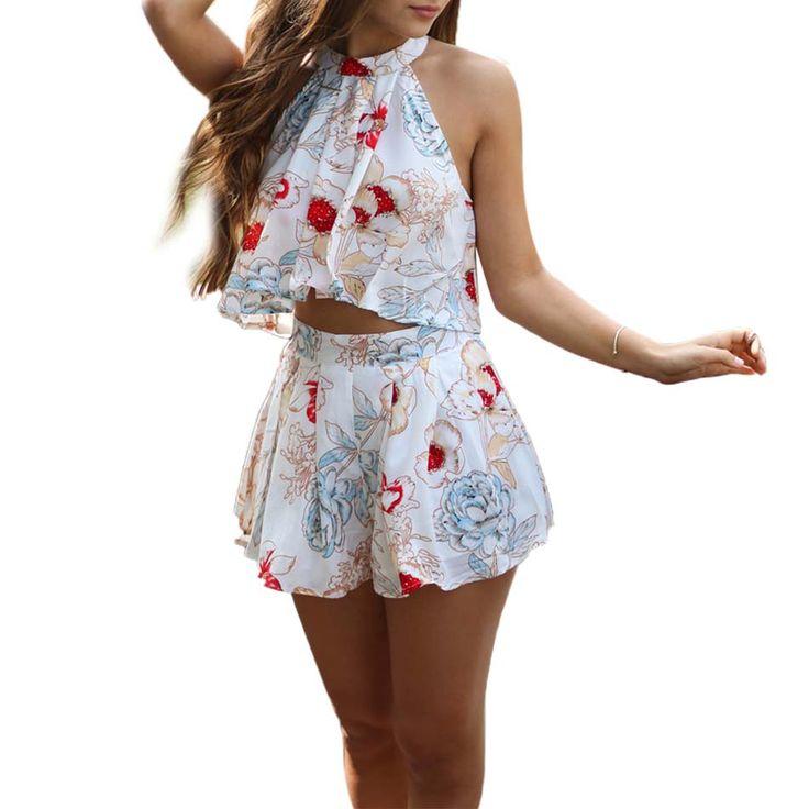 2016 Zomer Vrouwen Elegante Bloemen Gedrukt Hoge Hals Crop Tops + Geplooide Shorts Jumpsuit Strand Tweedelige Outfits Rompertjes