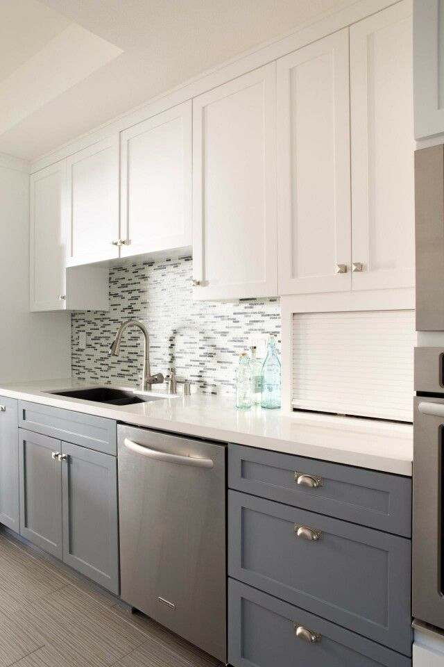 Love the style of these cabinets. Love the white on top. The grey color on the bottom is very pretty, and I like the drawer pulls. Just wish the backsplash was white.
