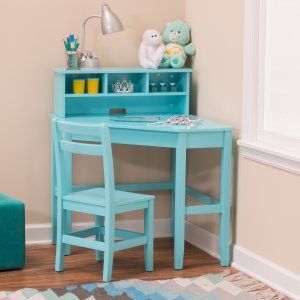 Classic Playtime Juvenile Corner Desk and Reversible Hutch with Chair - Teal - Kids Desks at Hayneedle