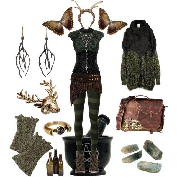 *Forest Witch 4* by pagana on Polyvore featuring Alexander McQueen, MM6 Maison Margiela, Steve Madden, Wildfox, Annette Ferdinandsen, Pamela Love, Topshop, Rachel Rachel Roy, FAUXTALE and Issey Miyake
