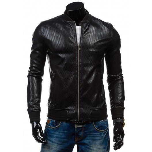 Pánske kožené bundy so zipsom čiernej farby - fashionday.eu
