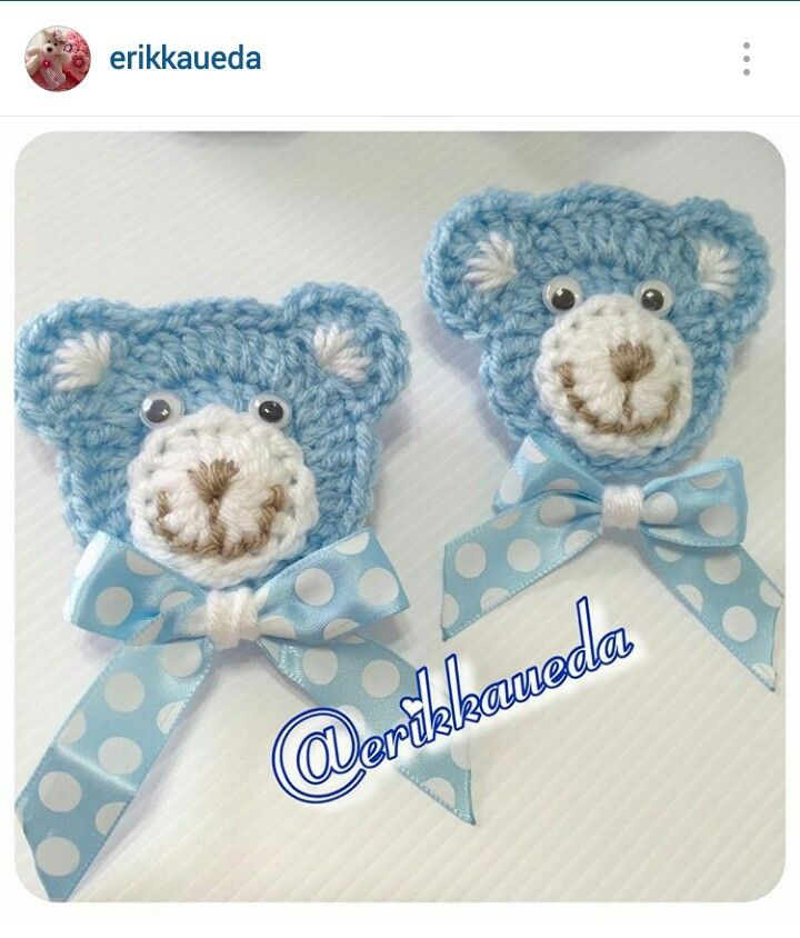 Instagram @erikkaueda - crochet bear face applique idea