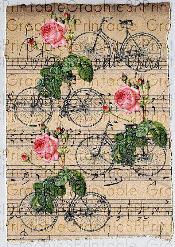 Digital Paper Gift Wrapping Vintage Roses Bicycles Collage Sheet Scrapbooking…