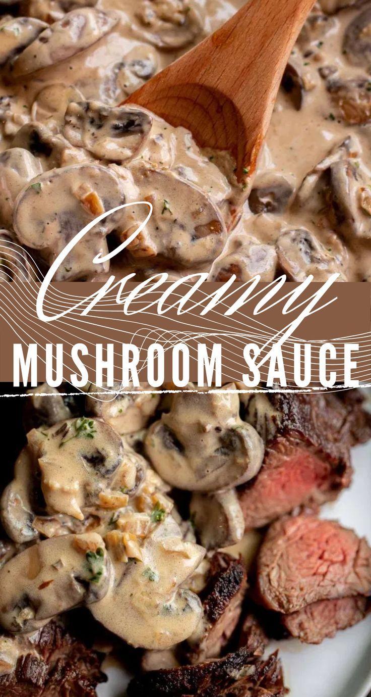 Creamy Mushroom Sauce Let The Baking Begin In 2020 Creamy Mushroom Sauce Creamy Mushrooms Mushroom Sauce Recipe