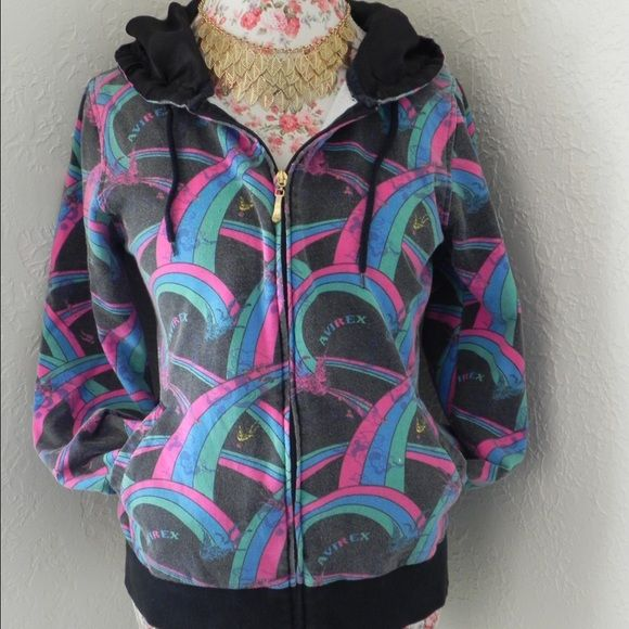 Colorful Avirex Jacket Colorful rainbow and bird pattern jacket with a silk lined hood! Vintage jacket with faded style look! Avirex Jackets & Coats