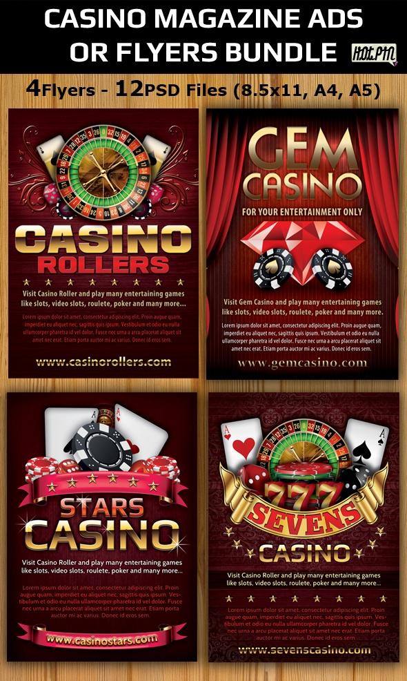 Casino Magazine Ads-Flyers Template Bundle by Christos Andronicou, via Behance