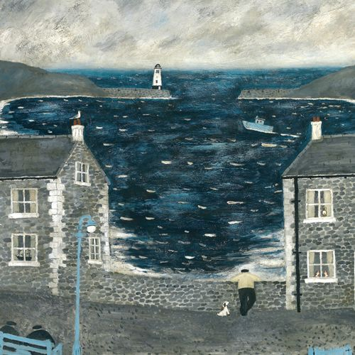 "'The Harbor Wall' - original painting by Gary Bunt.  ""Everyday we comes down ere.  And he leans upon the wall.  He forgets I'm only 2 foot 3.  I can't see nothing at all."""