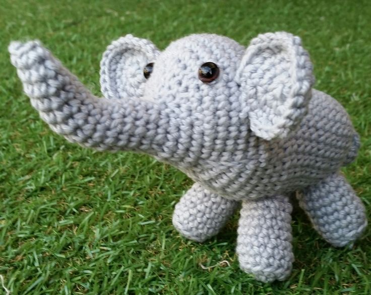 KaTerri Creations Elephant - Small Made with all new materials. Cotton blend yarn, plastic eyes and polyester toy filling and plastic pellets. Length 11cm      Colour: Grey $20.00 each
