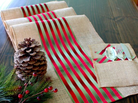 Christmas Table Runner  Winter Table Decor by HotCocoaDesign