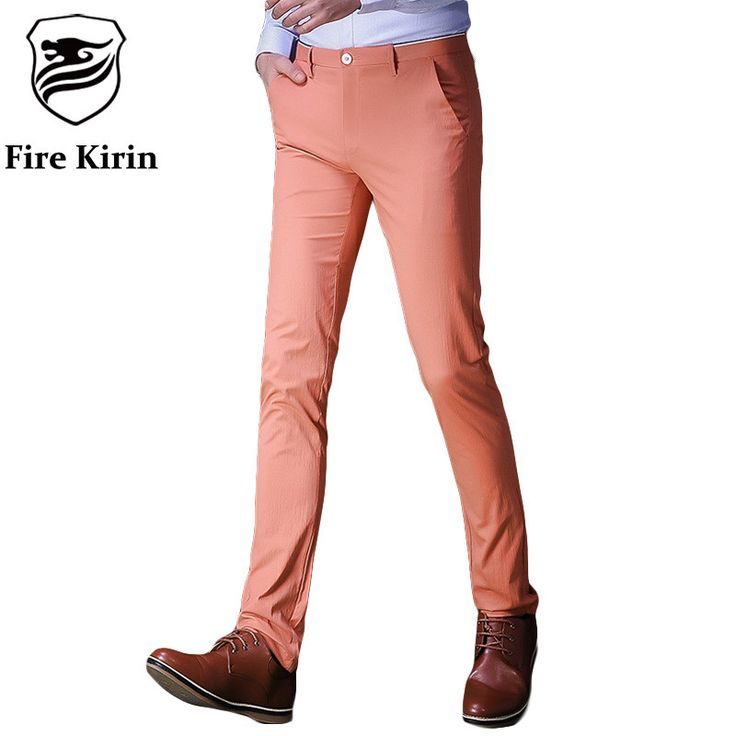 Fire Kirin Men Casual Pants Slim Fit Mens Dress Pants Luxury Black Orange Trousers Men Formal Pantalon Hombre
