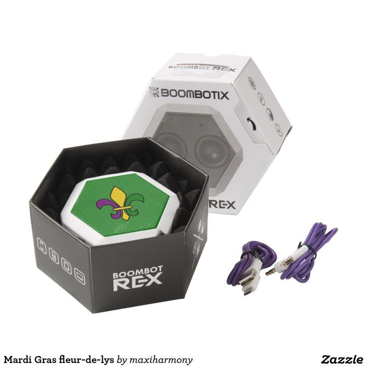 Mardi Gras fleur-de-lys White Boombot Rex Bluetooth Speaker