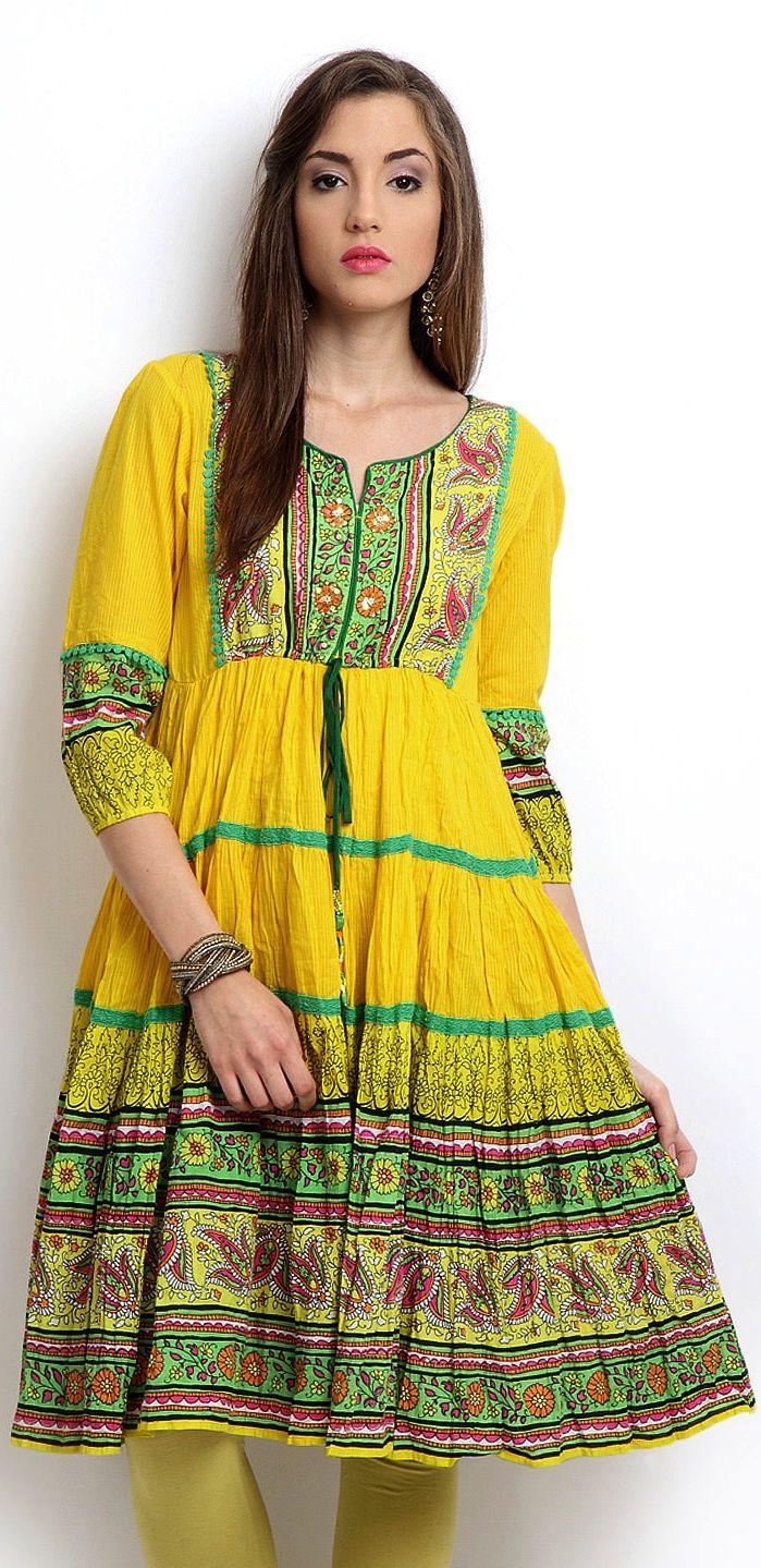 Yellow Printed Anarkali Kurta