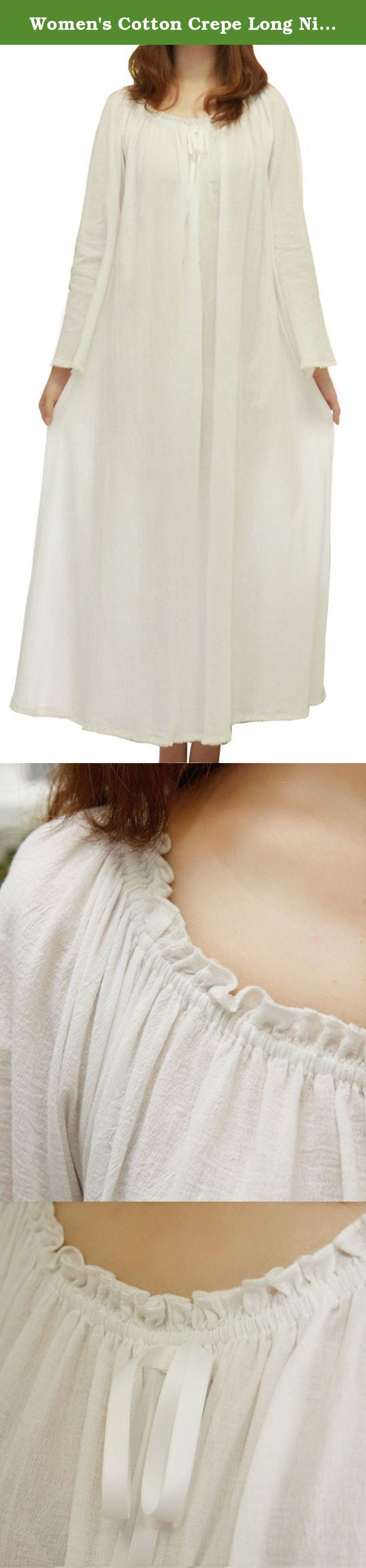 Women's Cotton Crepe Long Nightgown (large, beige). At first glance, it is inconspicuous, because the style is very simple, in addition to decorative lace and neckline edge bow, then no longer any color and material collision. Fabric is cotton crepe through high temperature sand washing, slightly simple vicissitudes.Not as flat and smooth as refined cotton, and even some prominent texture.And this sort of original fabrics, comfort, very soft, breathable and free.This dress is a little…