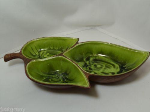 Vintage Treasure Craft Triple Divided Green Leaf Condiments  Nice Look