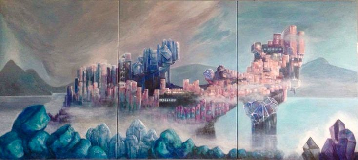 """""""CRYSTALIA"""" , acrylic on canvas, triptych 180x80, Christmas gift for a very special person in my life, my grandson Niki Bühler.  A fantastic city made from crystals, surrounded and protected from big turmaline walls. Basalt, aquamarine, amethyst, quarz are growing and giving the inhabitants energy and nutrition... Everyone who approaches """"CRYSTALIA"""" desires a small piece of crystal thinking of the miraculous properties of them."""