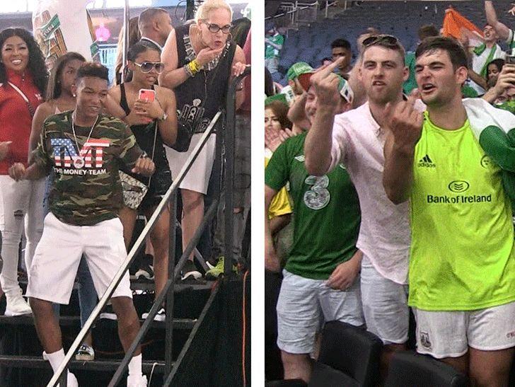 Conor McGregor's Irish Fans Cuss At Floyd Mayweather's Kids