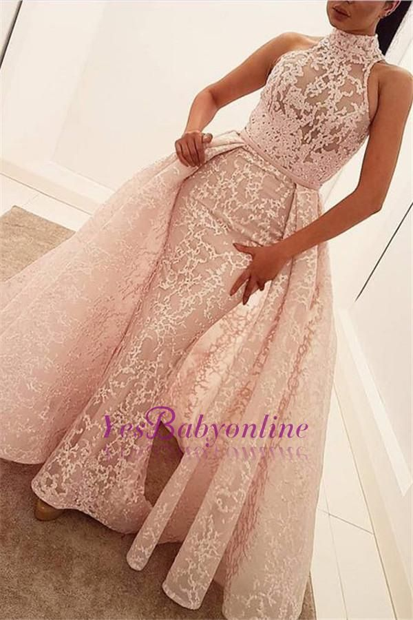 Illusion Unique Lace Sheath Puffy Sleeveless Popular High-Neck Overskirt Prom Dress_Wholesale Wedding Dresses, Lace Prom Dresses, Long Formal Dresses, Affordable Prom Dresses - High Quality Wedding Dresses - Yesbabyonline.com