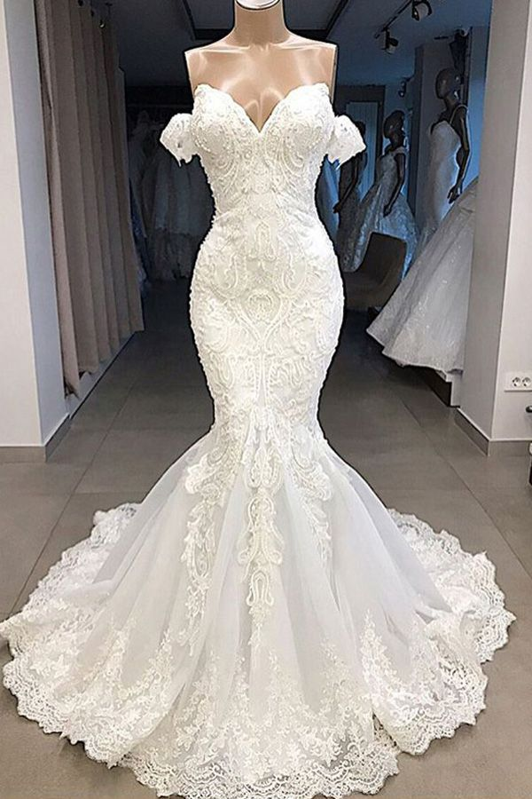 Magbridal Attractive Tulle Off-the-shoulder Neckline Mermaid Marriage ceremony Attire With Beaded Lace Appliques