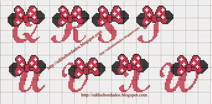Minnie Mouse Cursive Alphabets ABC