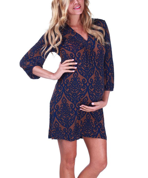 Take a look at this PinkBlush Maternity Mocha & Navy Maternity Dress on zulily today!