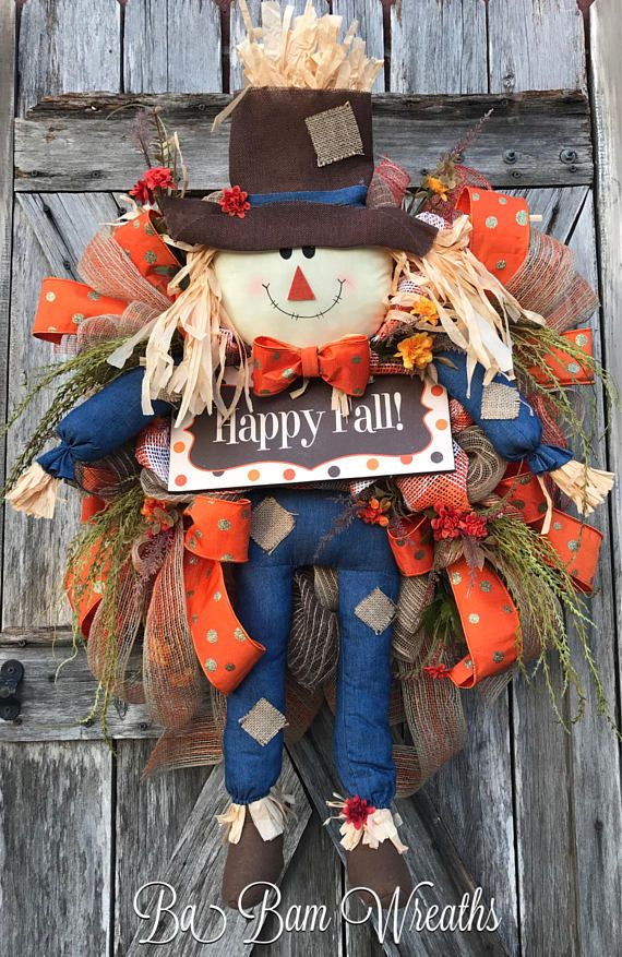Scarecrow Wreath Fall Swag Autumn Swag Fall Wreath Autumn